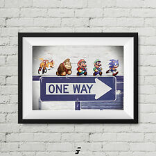 Retro Games pixel Personaggi Super Mario Sonic Donkey Kong Nintendo LOCALE stampa