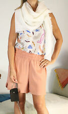 GAT RIMON Nude Pink Silk Hi Waist Shorts Sz 0 UK 8-10