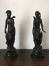 2 Sculptures à restaurer de Eutrope BOURET en régule 1833-1906 _ Hauteur 60 cm
