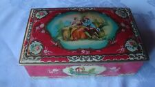 Vintage Tin Container Candy Cookie Made in England-  Victorian Design Rare Red