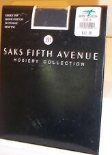 Saks Fifth Ave Girdle Top Sheer Pantyhose Demi-Toe Black Illusion Sz A NEW