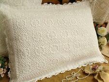 FRENCH chic Vintage Hand crochet  Pillow case SHABBY Sham standard White Picots