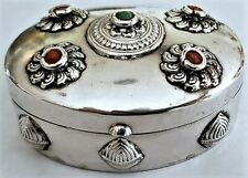 Antique HINGED OVAL SILVER PILL BOX with CORAL & TURQUOISE INSET STONES NR