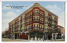The HOTEL CRAWFORD 1930 - 1945 Crawfordsville IN Roadside America Postcard