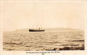 H60/ Ship RPPC Postcard Sleeping Giant Thunder Bay Fort Williams Ontario 111