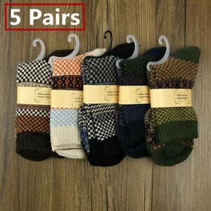 5 Pairs Mens Thermal Socks Walking Winter Warm Thick Rich Wool Hike Chuncky Sock