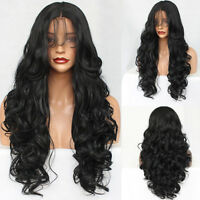 Real Natural Long Lace Front Wigs Women Brazilian Curly Wavy Synthetic Hair Wig