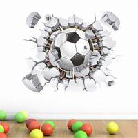 3D Flying Football Through Wall Stickers Kids Room Decor Soccer FanSportPoste ou