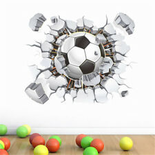 3D Flying Football Through Wall Stickers Kids Room Decor Soccer FanSportPosterAT