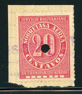 Colombia SCADTA Selections: Scott #C71 20c Carmine PUNCH CANCEL (1929) $$$