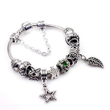 Women Man 925 Sterling Silver Retro Crystal Leaf Star Lucky Wheel Braclet