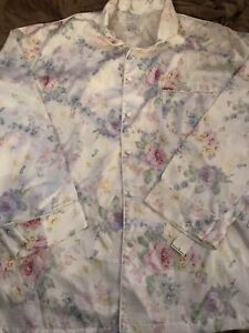 maidenform 2 piece pajama ivory flowers large 16/18 vintage new with tags