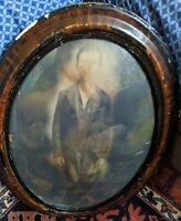 ANTIQUE CONVEX GLASS FAUX TIGER WOOD OVAL PICTURE FRAME BOY PHOTO 1800S RARE VTG