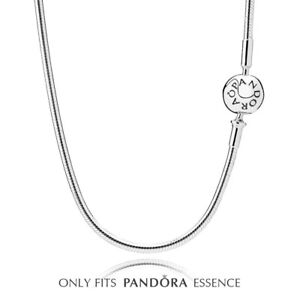 """Pandora Essence Collection Necklace Sterling Silver Charm Bead Snake Chain 27.6"""""""