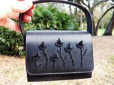 SASHA New York BLACK CLUTCH BAG Beaded Applique ROSE BUDS and Fold-down Handle