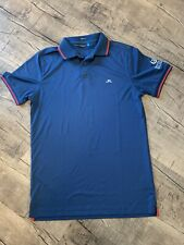 J. Lindeberg DarK Blue Red Regular Fit Polo Shirt Small Excellent Condition