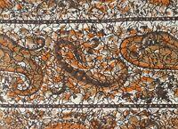 "1950s Faux Batik Paisley Print Cotton Shirting Fabric  Vintage Sewing 38"" x 98"""
