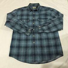 LL Bean Men's Size M Button Down Casual Dress Shirt Plaid Blue100% Cotton