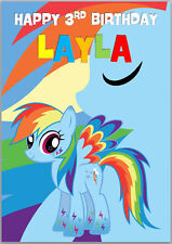 My Little Pony Rainbow Dash Birthday Card Personalised with any wording