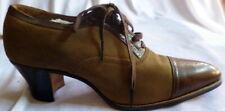 Original Vintage 1920s Brown Suede & Leather Lace Up Heals Shoes Size 4 1/2