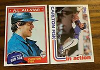 Carlton Fisk Topps 1981 #480 and 1982 #111 - Red Sox