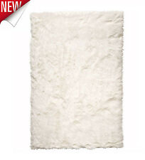 Faux Sheepskin Rug White Rectangle Area Carpet Fur Soft Polyester Hooked Home