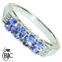 Bjc 9Ct Oro Blanco Tanzanita y Diamante Eternidad TALLA L Anillo de Compromiso