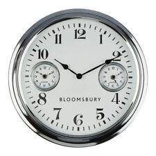 Wall Clock Chrome Finish 2 Smaller Clocks Within The Large Clock Face Stylish