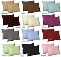 2 X Luxury Plain Dyed Poly Cotton Housewife Pillowcases Pillow Cover