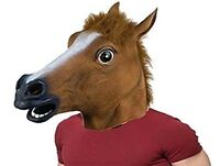 Halloween Adult Horse Head Mask Rubber Panto Cosplay Costume Fancy Dress Party