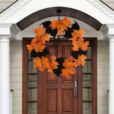 Halloween Decoration Bat Wreath Pendant Window Door Hanging Maple Leaf Wreath YO