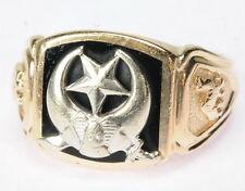 Gents 14K Yellow & White Gold Black Onyx Shriner'S Fraternal Estate Ring