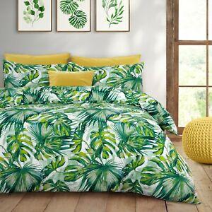 Tropical Leaf Water Colour Green Duvet Cover & Pillowcase Set Single Double King