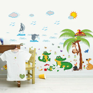 Oasis Animal Monkey Crocodile Dolphin Decal Wall Sticker Children's Bedroom