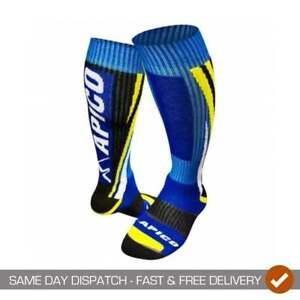 Apico Adults Mens Off Road MX Motocross Trials Motor Bike Socks - Blue/ Yellow