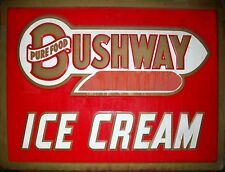 "TIN SIGN ""Bushway Ice Cream"" Dairy Art Deco Garage Wall Decor"