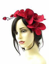 Large Red Black Orchid Flower Fascinator Headpiece Races Hair Vtg Headband 784