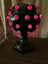 Vintage 1960's Hippie Style Black & Red Marble Embellished Ceramic Night Light