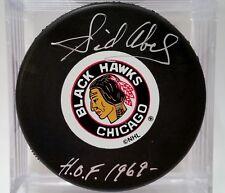 SID ABEL Chicago Blackhawks AUTOGRAPHED Signed NHL Hockey Puck COA HOF