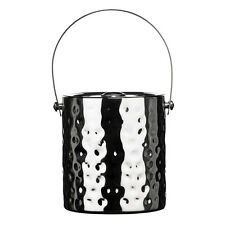 Hammered Effect Stainless Steel Ice Bucket With Handle And Lid Vintage Drinks
