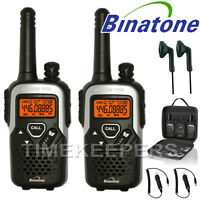 10Km Binatone Action 1100 Walkie Talkie 2 Two Way Radio Travel Pack + 2 Headsets