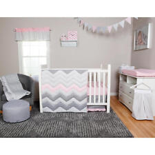 Girls Crib Bedding Pink Gray Chevron Zig 3 PC Set Baby Infant Toddler Quilt NEW