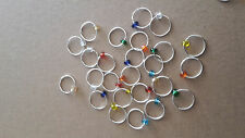 20 Knitting Stitch Markers Silver Plated & Glass Bead fit needle upto 8mm & Bag