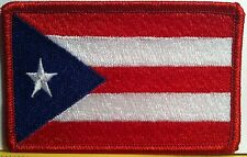 PUERTO RICO Flag Patch W/ VELCRO® Brand Fastener Military Tactical Boricua Red