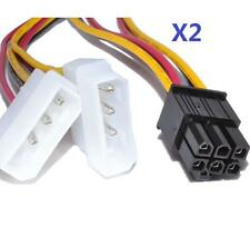 2x Dual Molex LP4 4pin to 6pin PCI-E Express converter adapter power cable wire