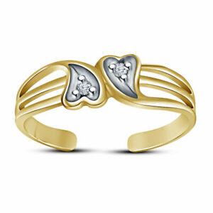 14k Yellow Gold Finish Diamond Double Heart Adjustable Toe Ring For Women