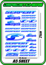 RC STICKERS MODEL CAR SERPENT RACING BRUSHLESS 1/10 DRIFT 1/8 BUGGY 1/1 BLUFAD W