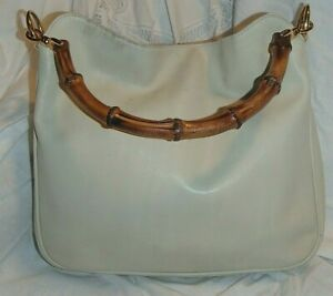 VINTAGE GUCCI BEIGE LEATHER SHOULDER PURSE WITH BAMBOO HANDLE