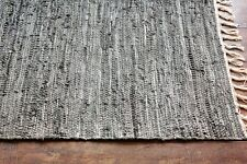 Taluche Hand-Woven Gray Real Tanned Cowhide Leather Sofa/Lounge Area Rugs/Carpet