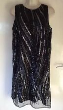 Black Navy Silver Sequinned Monsoon Tunic Dress Size 14 36 Chest